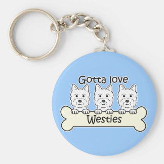 Three Westies Basic Round Button Key Ring