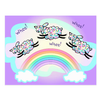 Three Whee Sheep Leaping a Rainbow Silly Happy Postcards