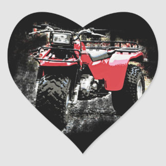 Three Wheeled ATC Red Trike Motorbike Heart Sticker