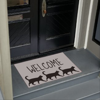 Three Whimsical Black Cats Welcome Doormat