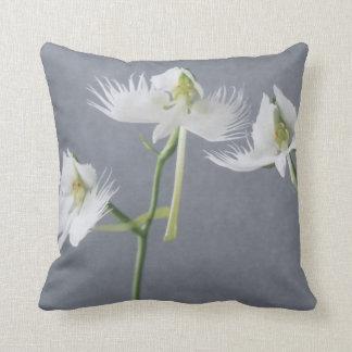 Three White Egret Orchids Cushion