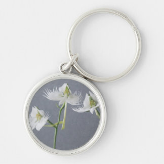Three White Egret Orchids Key Ring
