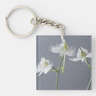 Three White Egret Orchids Key Ring