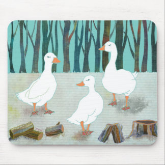Three White Geese Mouse Pad