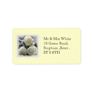 Three White Roses and lace Labels