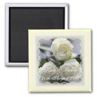 Three White Roses and Lace, Save the Date Magnet