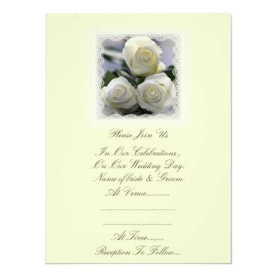 Three White Roses and Lace Wedding Invitation. Card