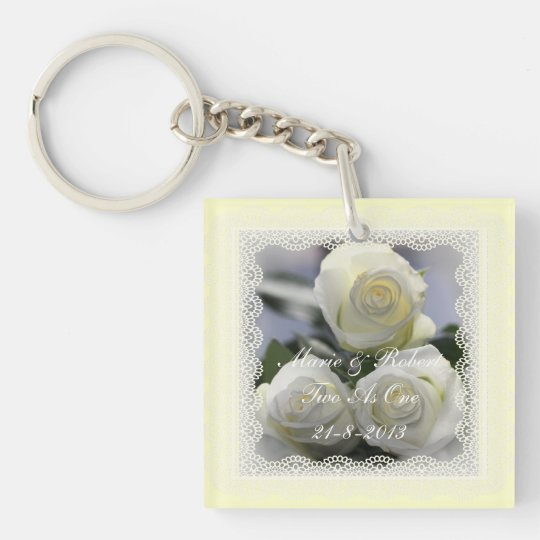 Three White Roses and Lace Wedding Keyring. Double-Sided Square Acrylic Key Ring