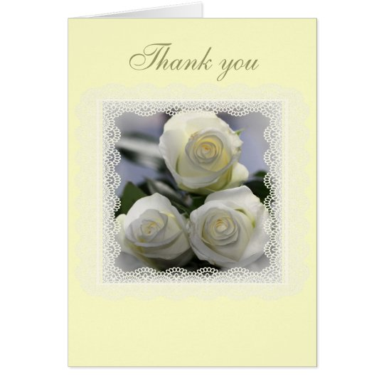 Three White Roses Lace Wedding and gift Thankyou Card