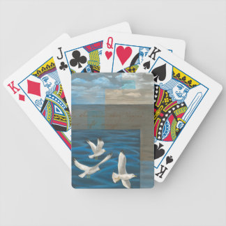 Three White Seagulls Flying Over the Water Bicycle Playing Cards