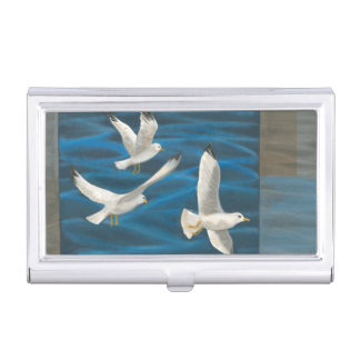 Three White Seagulls Flying Over the Water Business Card Holder
