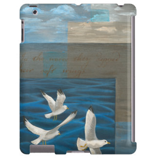 Three White Seagulls Flying Over the Water iPad Case