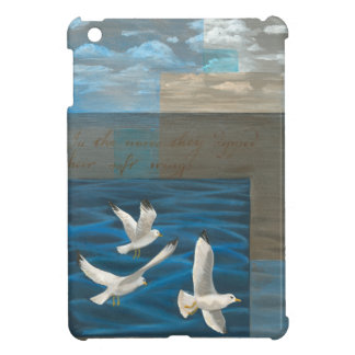 Three White Seagulls Flying Over the Water iPad Mini Covers