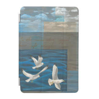 Three White Seagulls Flying Over the Water iPad Mini Cover