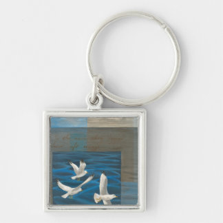 Three White Seagulls Flying Over the Water Silver-Colored Square Key Ring