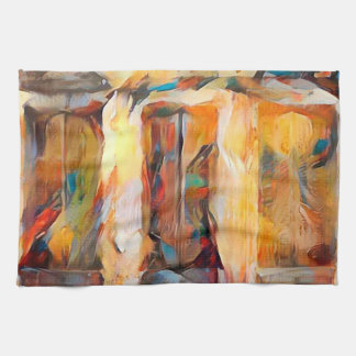 Three Windows of Emotion, abstract expression Tea Towels