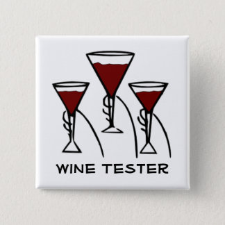 Three Wine Glasses in Hands Cartoon 15 Cm Square Badge