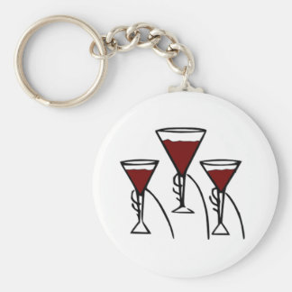 Three Wine Glasses in Hands Cartoon Basic Round Button Key Ring