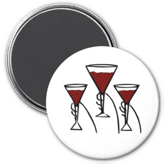 Three Wine Glasses in Hands Cartoon Magnet