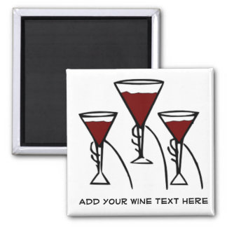 Three Wine Glasses in Hands Cartoon Square Magnet