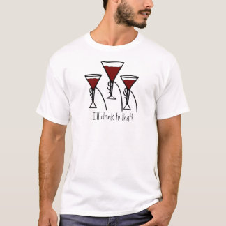 Three Wine Glasses in Hands Cartoon T-Shirt