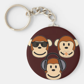 Three Wise and Funky Monkeys Basic Round Button Key Ring