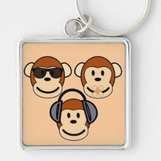 Three Wise and Funky Monkeys Silver-Colored Square Key Ring