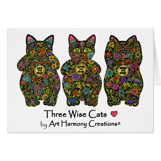 Three Wise Cats Greeting Card