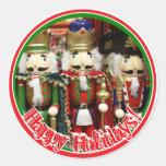 Three Wise Crackers - Nutcracker Soldiers Round Stickers