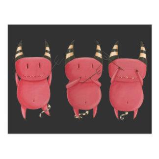 Three Wise Devils - Little Devils art Postcard