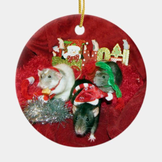 Three Wise Girls Pet Rat Christmas Ornament