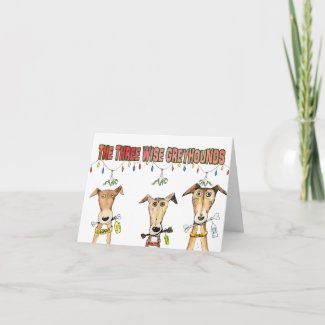 Three Wise Greyhounds (a511) Holiday Card title=