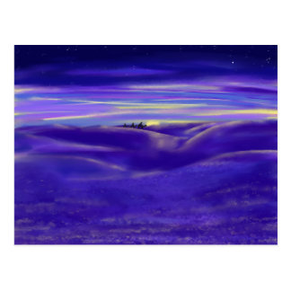Three wise men and Star Purple Painting Art Design Postcard