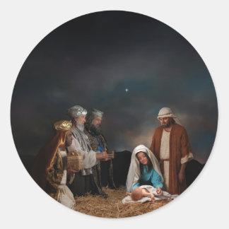 Three Wise Men at the Nativity Round Sticker