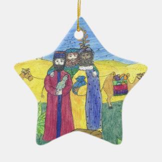 Three wise men ceramic star decoration