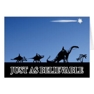 Three wise men on dinosaurs greeting card