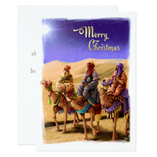 Three Wise Men Painting Flat Christmas Cards