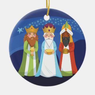 Three Wise Men Round Ceramic Decoration