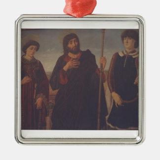 Three Wise Men Silver-Colored Square Decoration