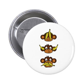 Three Wise Monkeys 6 Cm Round Badge