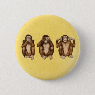 Three wise monkeys 6 cm round badge