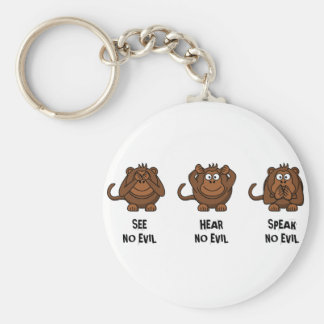 Three Wise Monkeys Basic Round Button Key Ring
