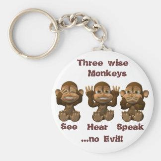 three wise monkeys basic round button key ring