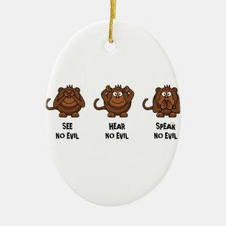 Three Wise Monkeys Christmas Ornament