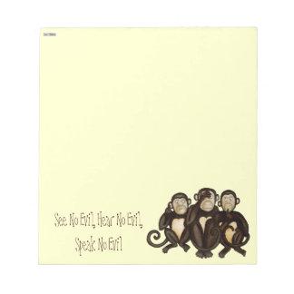 Three Wise Monkeys Notepad