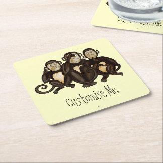 Three Wise Monkeys Square Paper Coaster