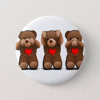 Three Wise Monkeys, Teddy Bear Print 6 Cm Round Badge