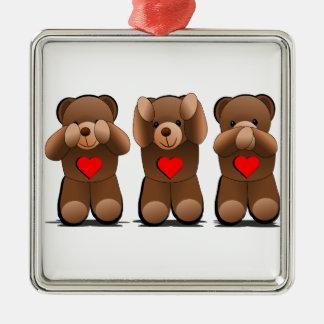 Three Wise Monkeys, Teddy Bear Print Christmas Ornament