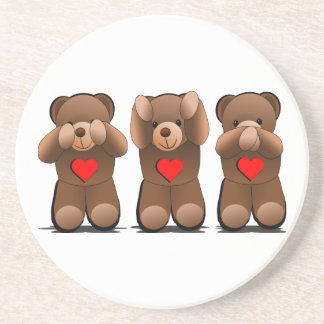 Three Wise Monkeys, Teddy Bear Print Coaster