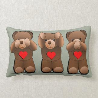 Three Wise Monkeys, Teddy Bear Print Lumbar Cushion